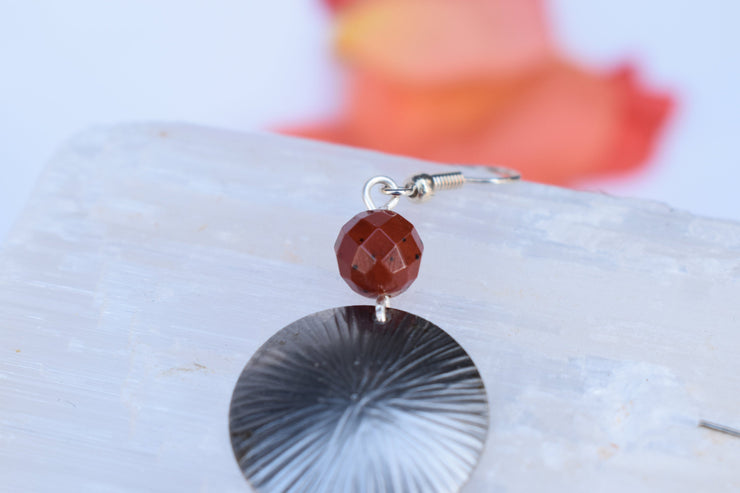 simple silver disc and red jasper natural stone bead earrings