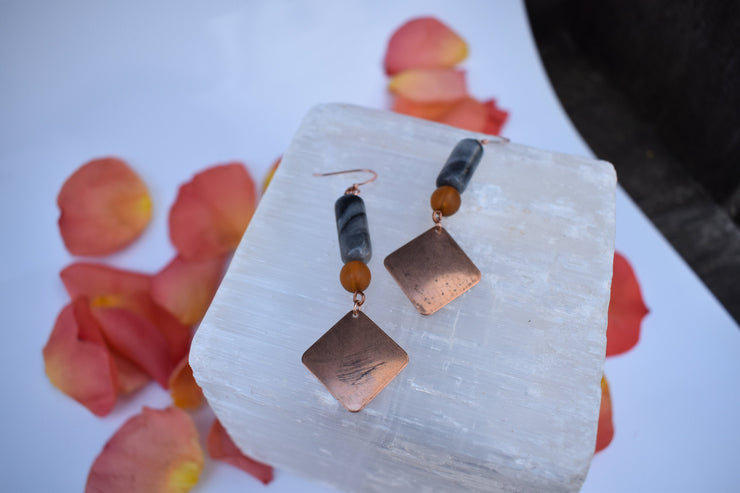 Copper diamond stone and glass earrings in amber and gray