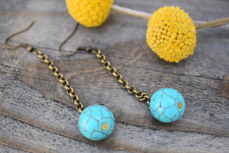 Teal blue Howlite and brass boho dangle earrings, minimalist marbled drop earrings