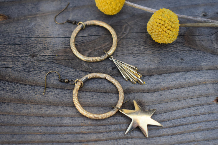 Vintage hoops, gold up cycled links and asymmetrical dangle fashion earrings