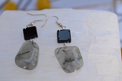 Black and white stone earrings, irregular and miss matched quartz and black agate dangle earrings