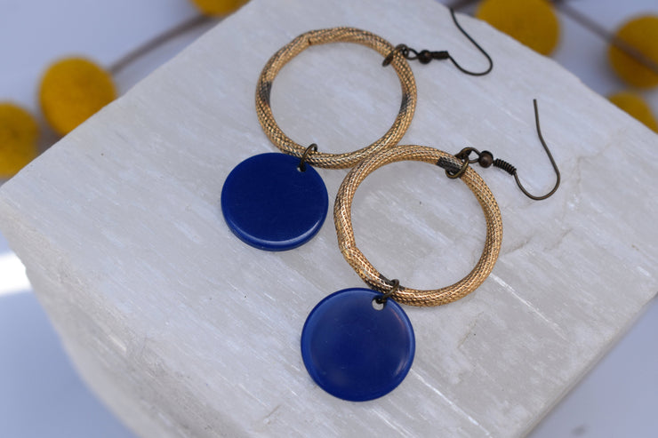 Vintage hoops, gold up cycled links and blue dangle fashion earrings.