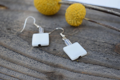 Sweet dainty white glass dangle earrings, square glass beads and opalite