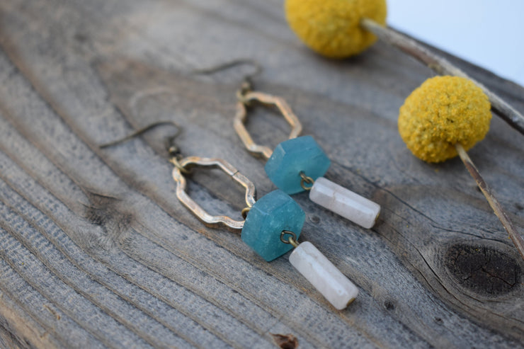 Vintage gold up-cycled links and amazonite with quartz statement earrings