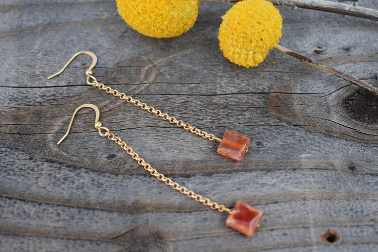 petite square orange agate beads and gold dangle earrings, long dainty gold chain shoulder duster earrings
