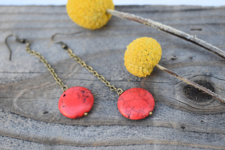 red howlite circle dangle earrings with long brass chain, shoulder duster statement earrings.