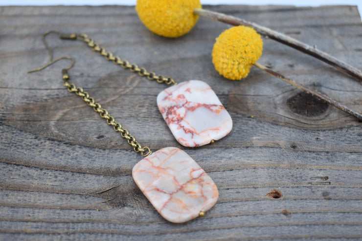 marbled stone dangle earrings with long brass chain, shoulder duster statement earrings.