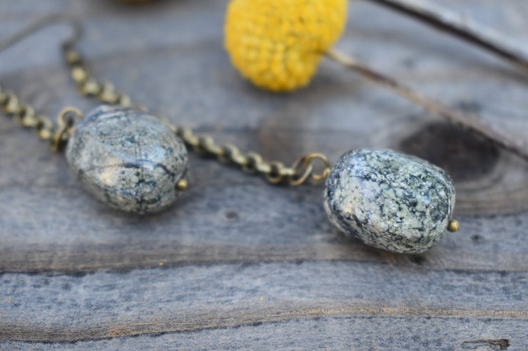 marbled green stone dangle earrings with long brass chain, shoulder duster statement earrings.