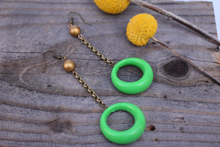 Lime green hoop and brass boho dangle earrings, chain drop earrings