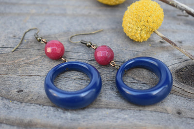 Blue and pink hoop earrings, dangle hoop, navy and rose pink mid length statement earrings
