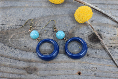 Blue and teal hoop earrings, dangle hoop, navy and teal blue mid length statement earrings