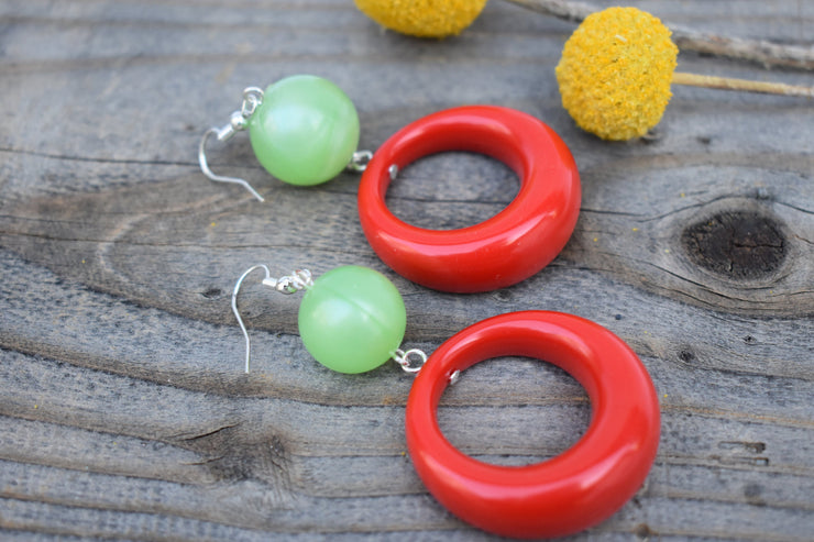 Red hoop and lime green bead earrings. bold red and green statement earrings