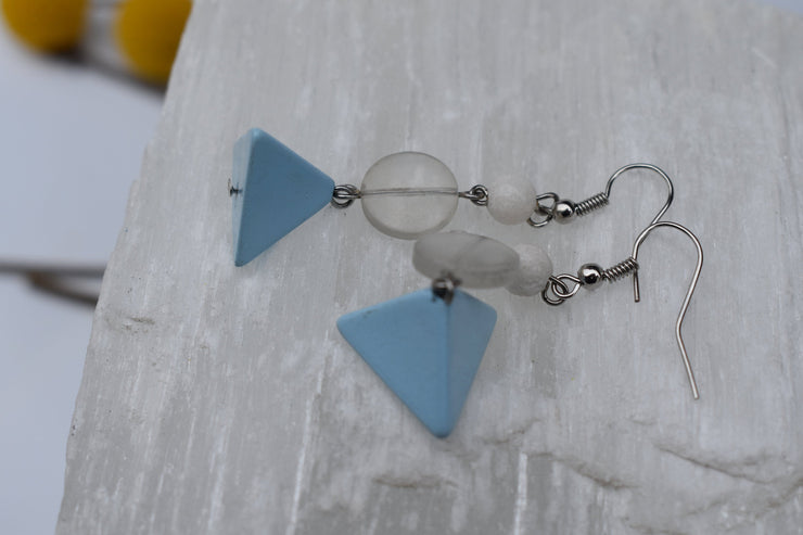 Baby blue pyramid and clear glass beaded dangle earrings