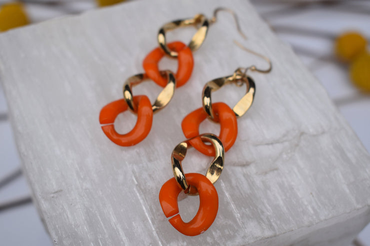 Orange and gold large link chain statement earrings
