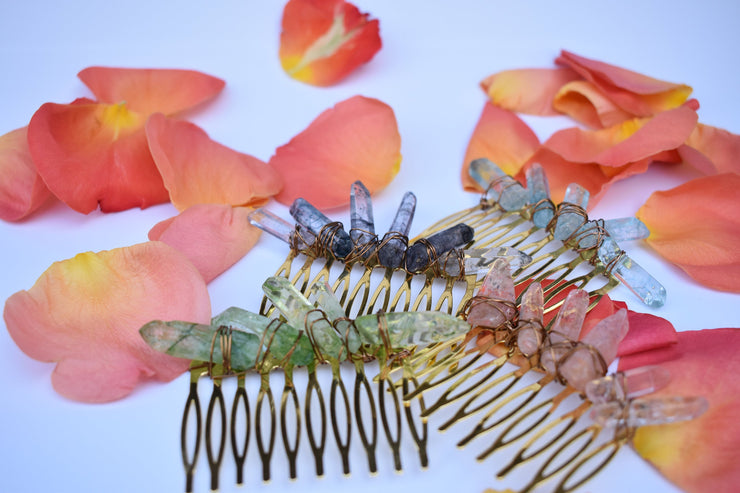 boho crystal hair combs, beaded wire wrapped hair accessories for festivals, weddings and more