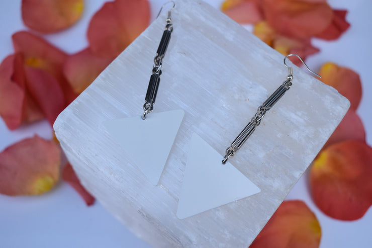 White and silver bar link dangle statement earrings