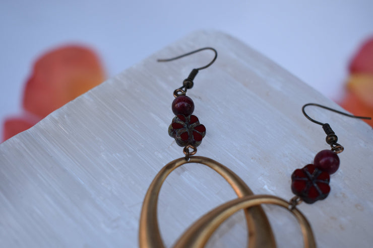 Vintage brass hoops and deep red bead dangle earrings, maroon glass flower and stone beads and aged brass
