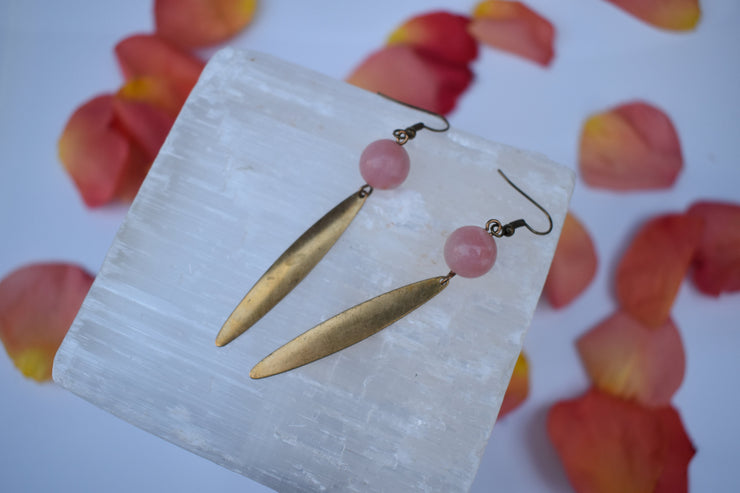 brass dagger and pink stone earrings