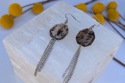 Black marbled geometric quartz beads and silver chain dangle earrings, shoulder duster, long fashion earrings