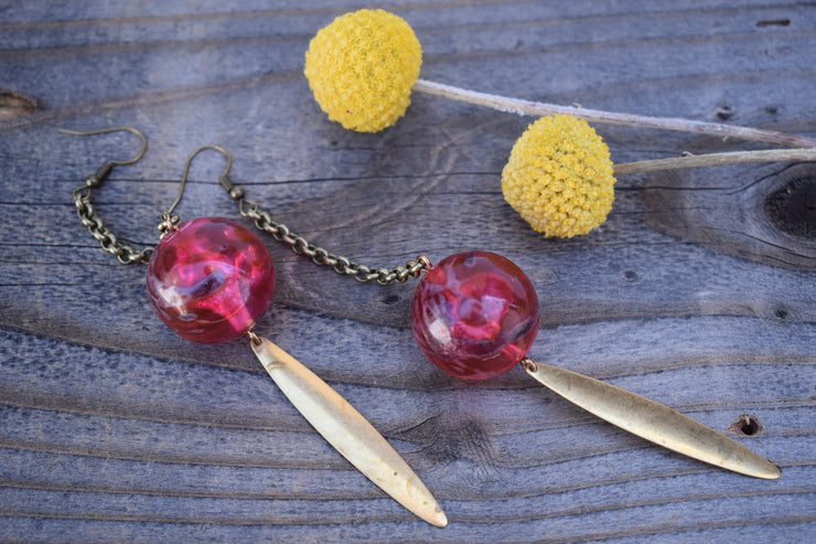 Bold marbled red vintage beads long brass chain and brass metal spear shaped accent, shoulder duster statement earrings