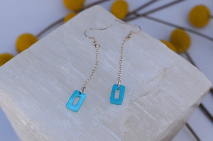 Dainty Blue mother of pearl chain drop earrings, soft teal blue rectangle accents and simple dainty silver plated chain.