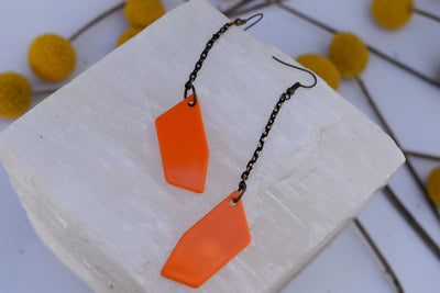 Orange and black chain and vintage acrylic, fun bold plastic and black gunmetal chain statement earrings, long dangle earrings