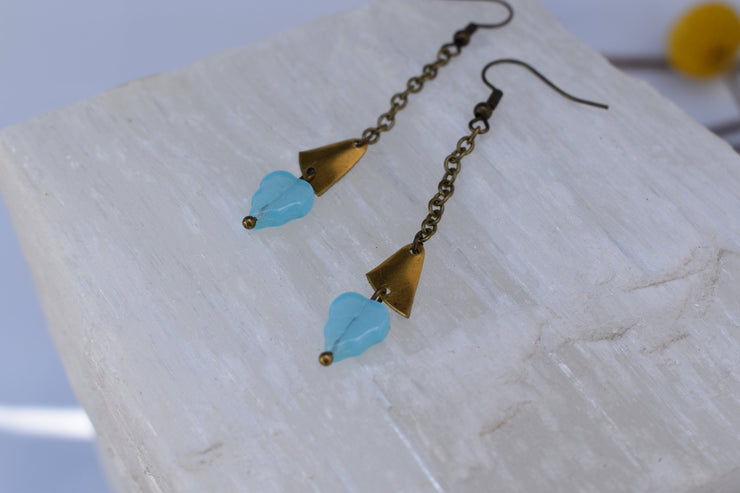 Delicate leaf and brass chain and accent dangle earrings, Soft blue glass opalite accents and chain boho dangle earrings