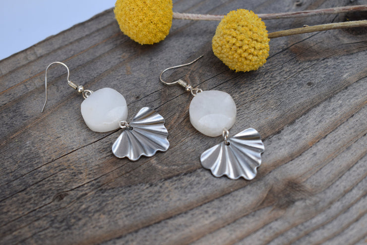 White stone and silver fan earrings, Quartz and wavy fan shaped dangle earrings
