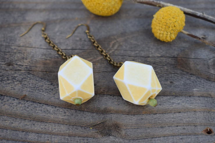 Soft yellow and green geometric dangle earrings with long brass chain, acrylic statement beads, shoulder duster statement earrings