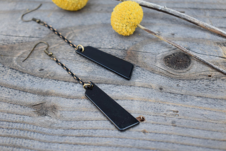 Black acrylic and black chain, fun bold plastic and black gunmetal chain statement earrings, long dangle earrings