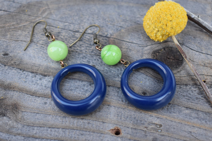 Blue and lime green hoop earrings, dangle hoop, navy and lime mid length statement earrings