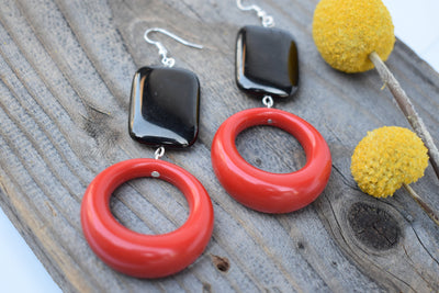 Red hoop and black dangle earrings. bold red and black statement earrings