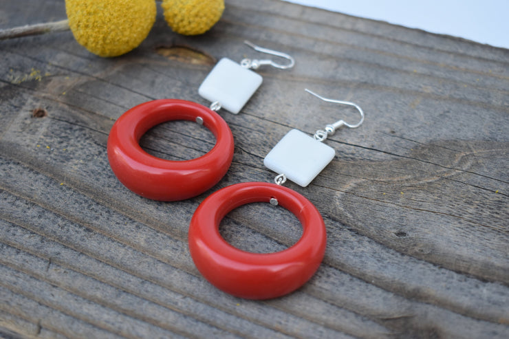 Red hoop and white bead earrings. bold red and white statement earrings