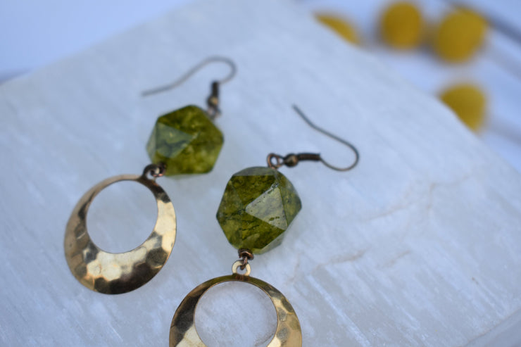 Hammered hoops and Peridot and dangle dimensional hoop earrings