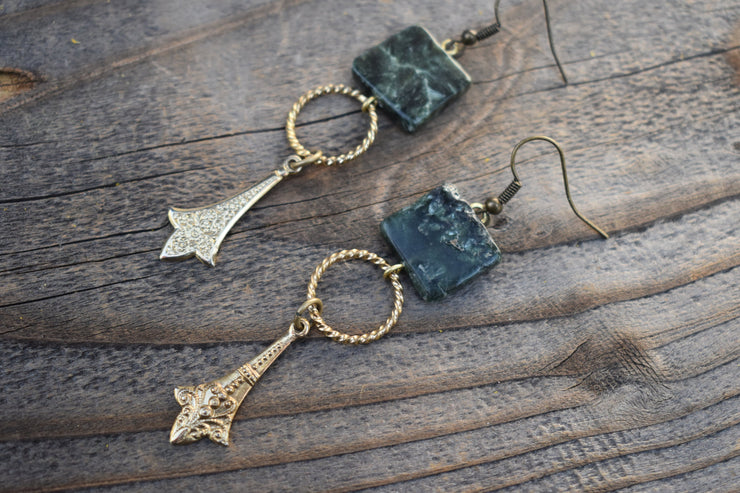 Vintage gold and brass and square natural stone beads. Asymmetrical statement earrings.