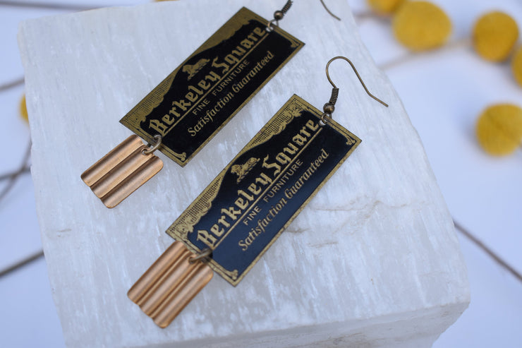 Gold and Black Long statement earrings, Berkeley vintage furniture tag up cycled brass one of a kind earrings.