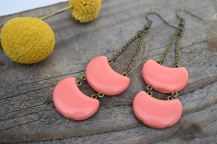 Candy colored peach acrylic and chain double layered statement earrings
