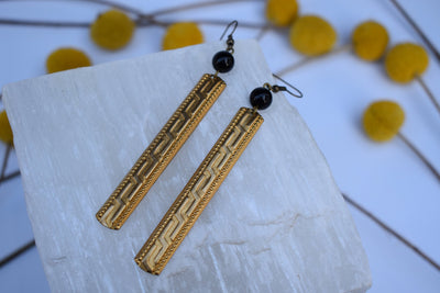 Gold and Black long bar and stone and brass fashion long earrings