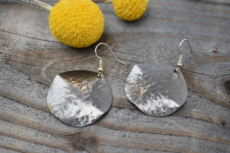 Full Moon, Rippled silver steel round disc fashion statement earrings, mid length