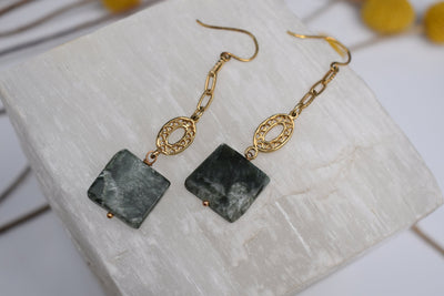 Vintage gold chain links and square natural stone beads. long dangle earrings. Dark Serpantine natural stones