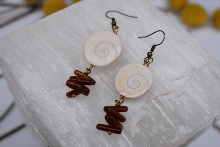 Natural shell and coral dangle statement hippie boho earrings