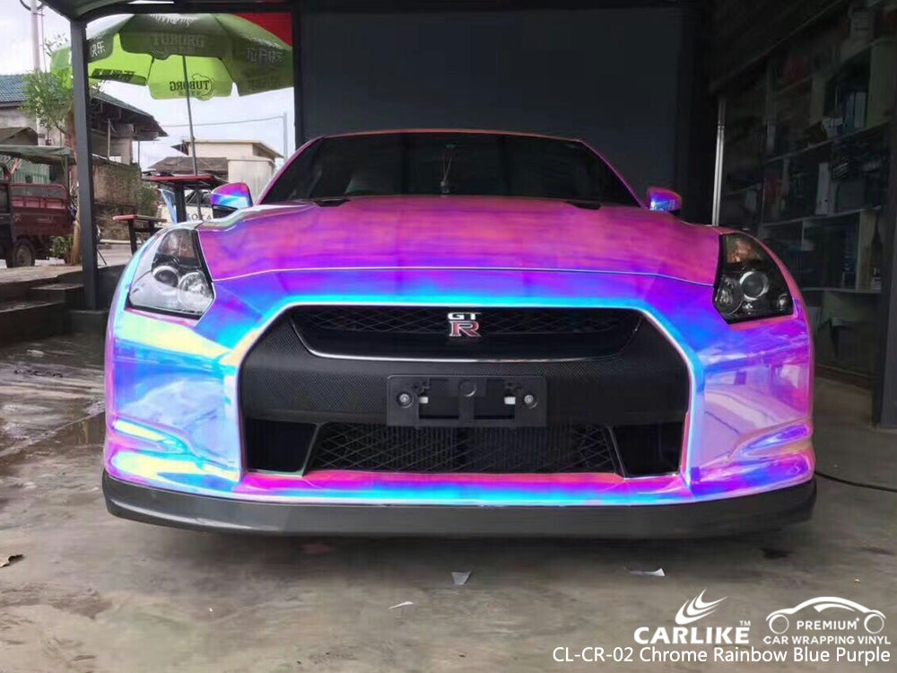 CARLIKE CL-CR-02 CHROME RAINBOW BLUE PURPLE VINYL