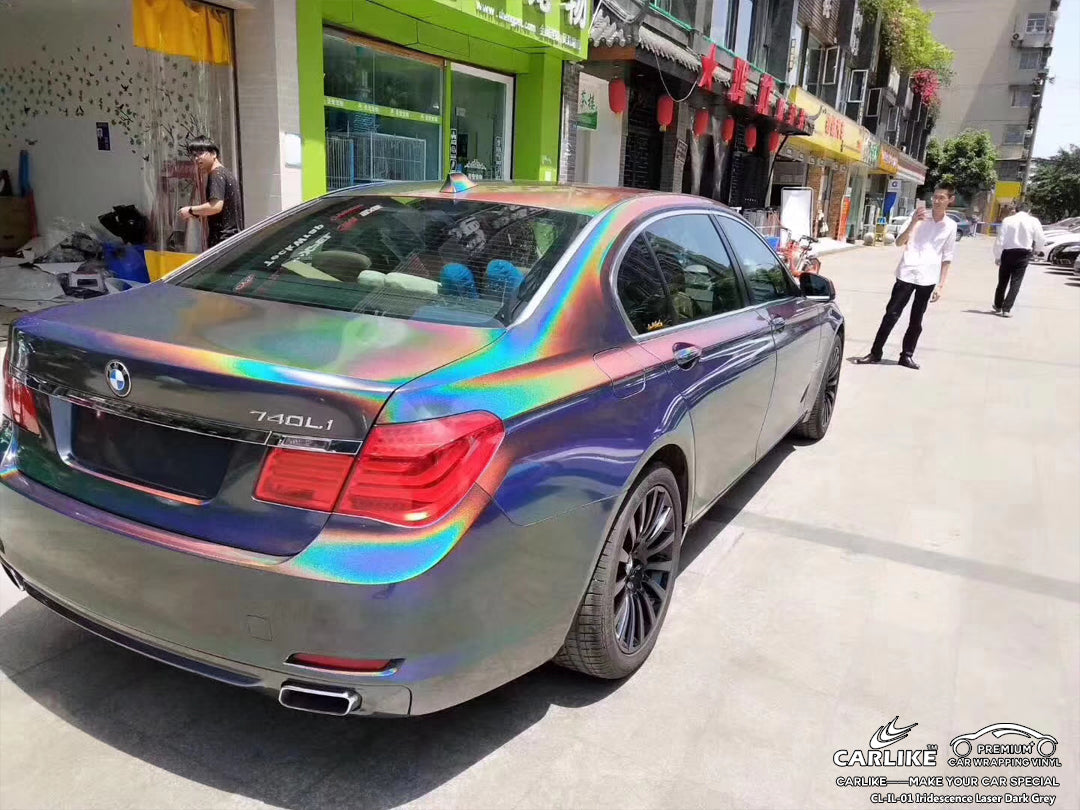 CARLIKE CL-IL-01 Iridescence Laser Dark Grey Vinyl Car Wrapping