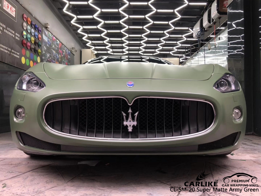 CARLIKE CL-SM-20 SUPER MATTE ARMY GREEN VINYL On Maserati
