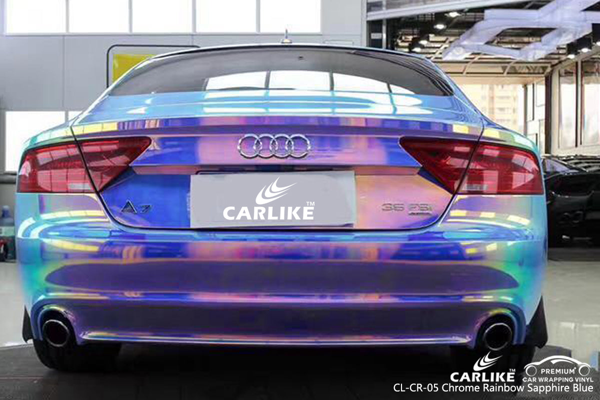 CARLIKE CL-CR-05 CHROME RAINBOW SAPPHIRE BLUE VINYL WRAP AUDI