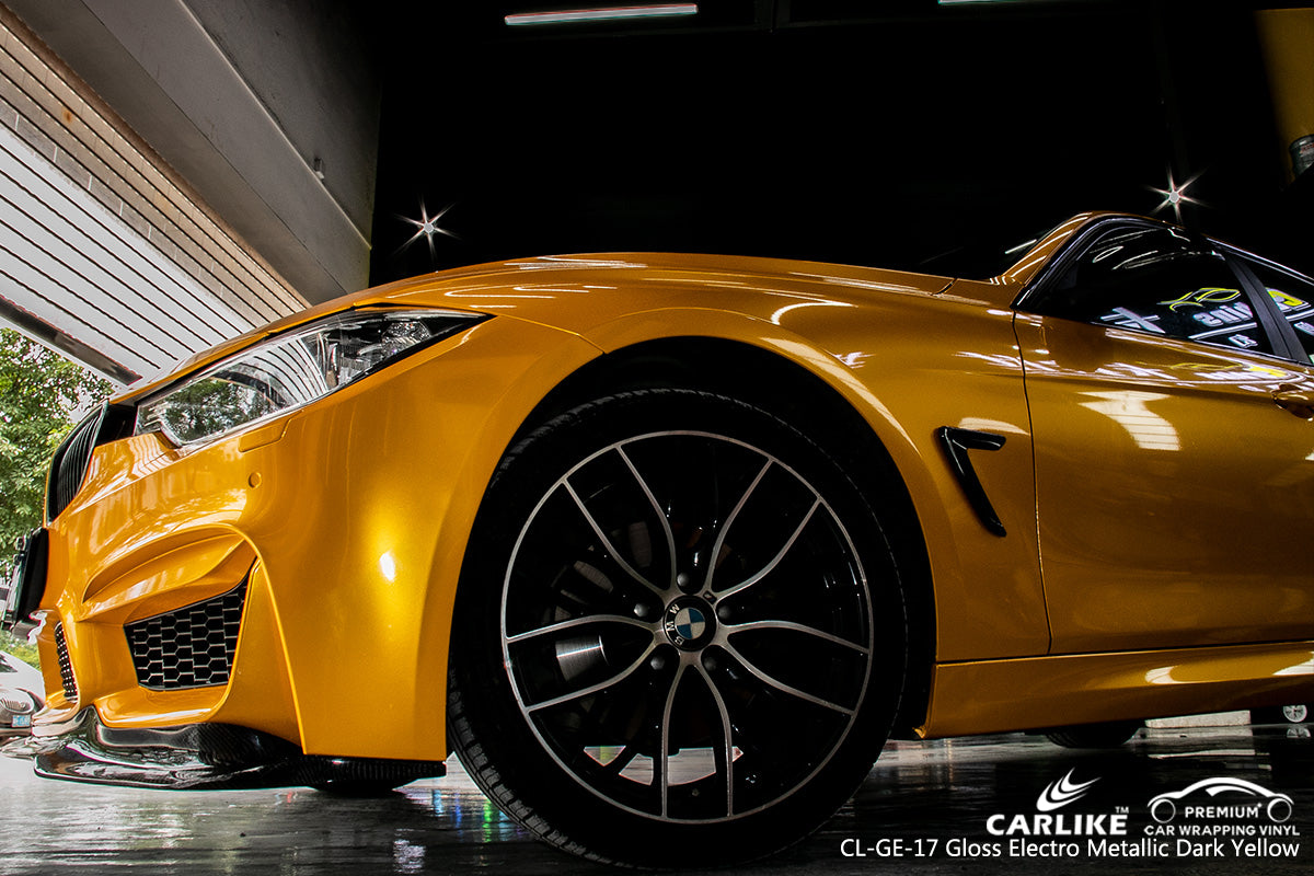 CARLIKE CL-GE-17 GLOSS ELECTRO METALLIC DARK YELLOW VINYL WRAP BMW