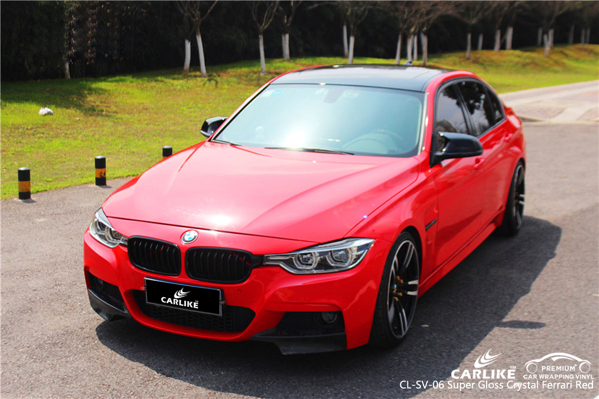 Carlike Cl Sv 06 Super Gloss Crystal Ferrari Red Vinyl Wrap Bmw Carlike Wrap
