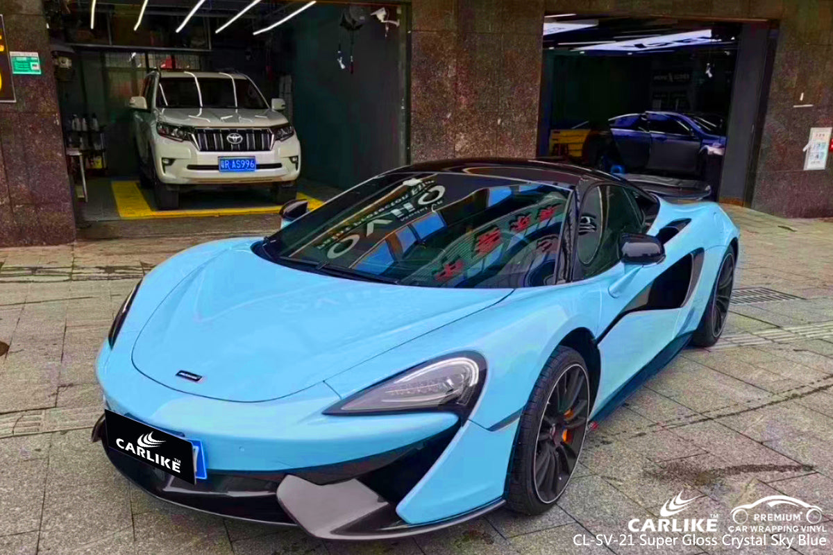 CARLIKE CL-SV-21 SUPER GLOSS CRYSTAL SKY BLUE VINYL WRAP McLaren