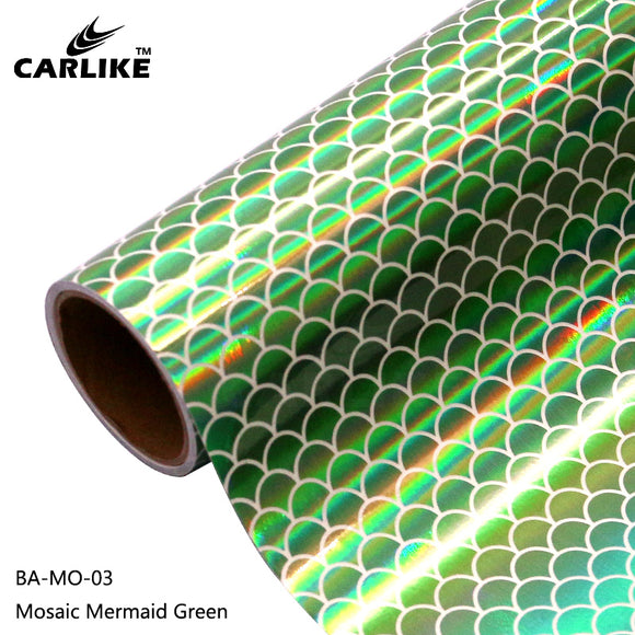 CARLIKE BA-MO-03 Holographic Mosaic Mermaid Green Cricut Cutting DIY Craft Vinyl