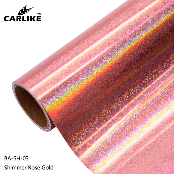 CARLIKE BA-SH-03 Holographic Shimmer Rose Gold Cricut Cutting DIY Craft Vinyl